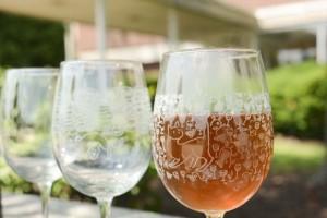 details of laser engraved wine glasses